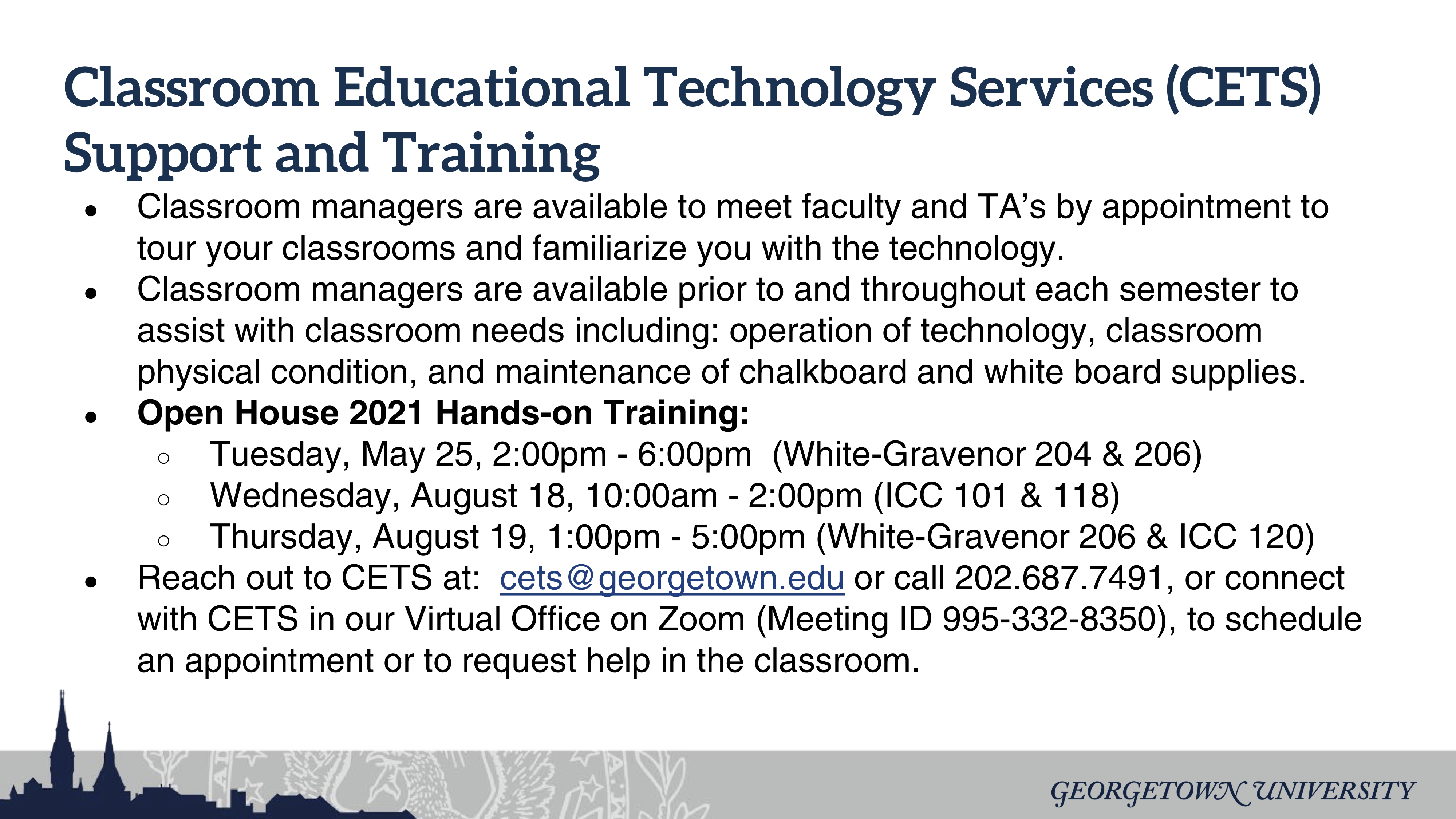 Classroom Educational Technology Services (CETS) Support and Training