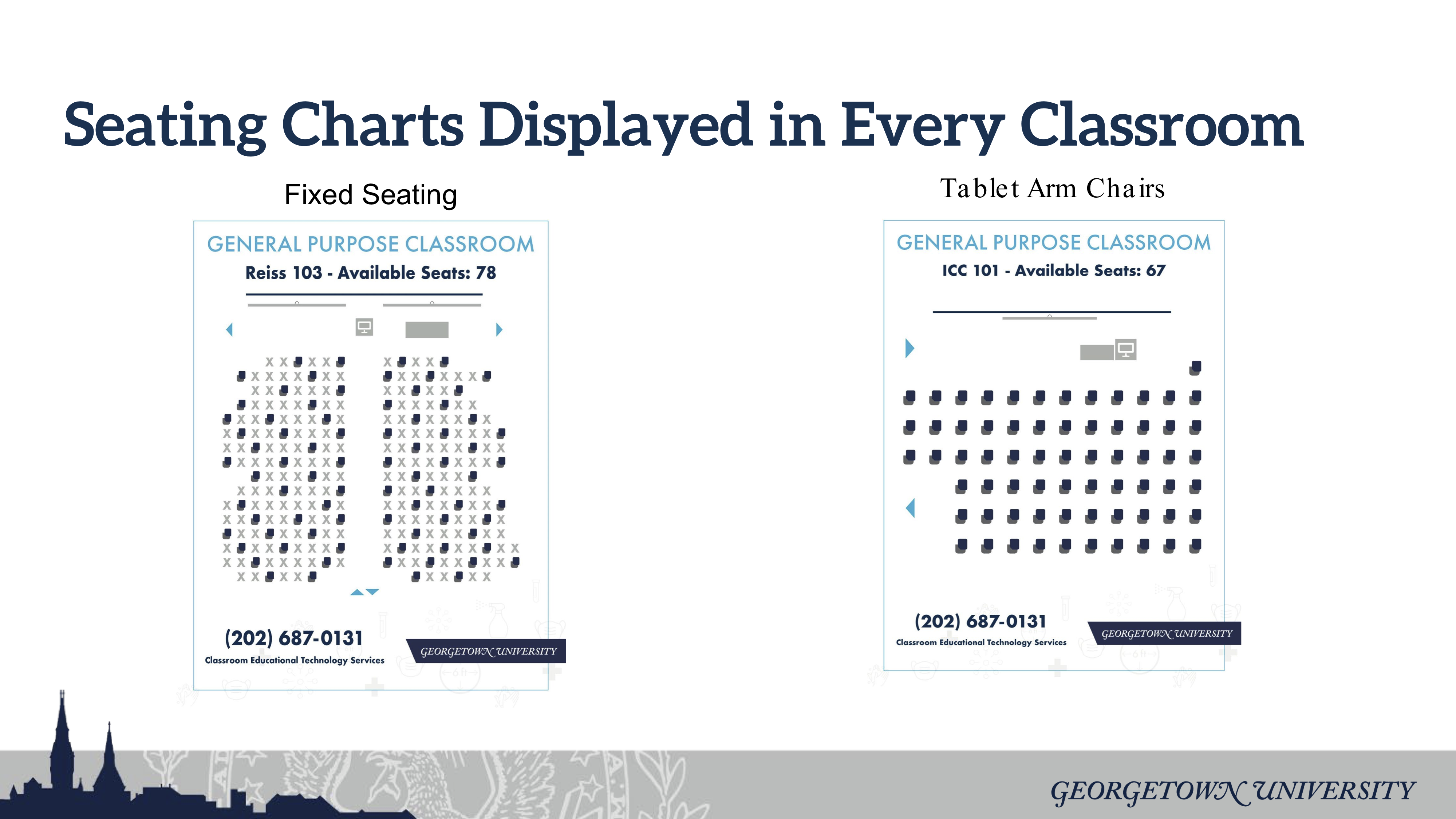 Seating Charts for General Purpose Classrooms displays Fixed Seating and Tablet Arm Chair Classrooms